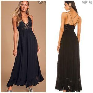 NWT Free People Adella Black Maxi Slip Dress